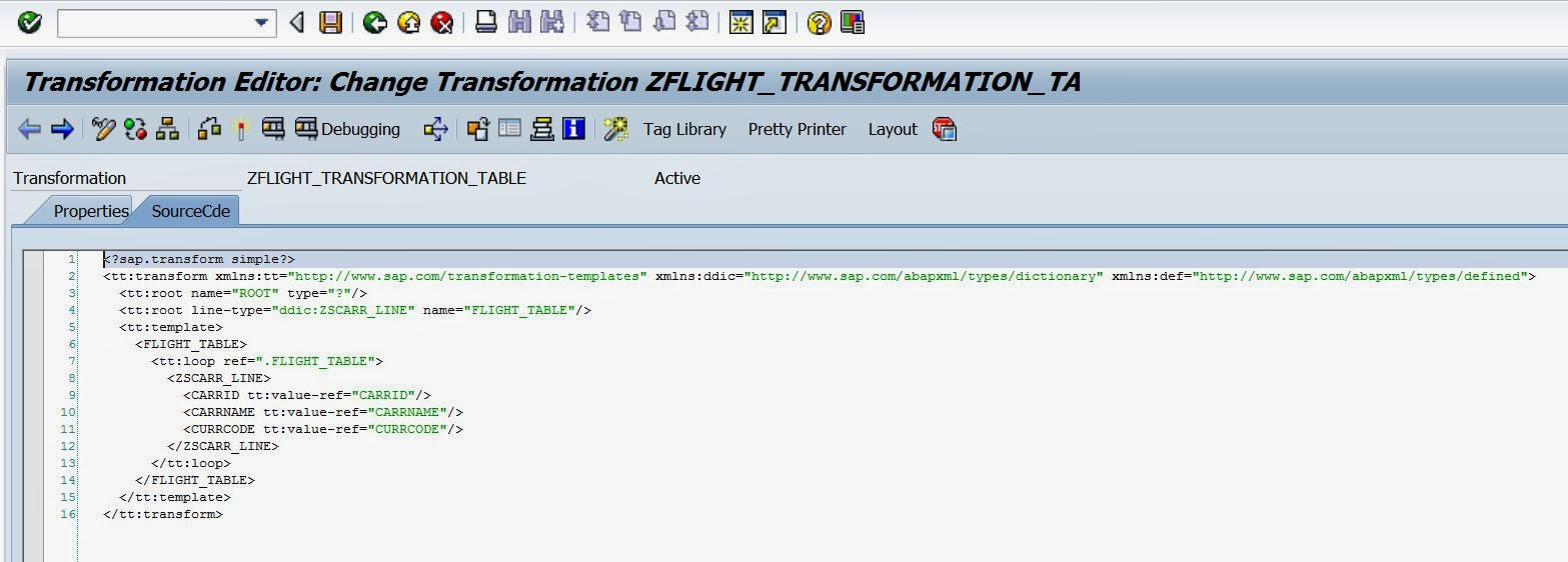 Simple transformation of internal table using tx xslt for Table design in xml