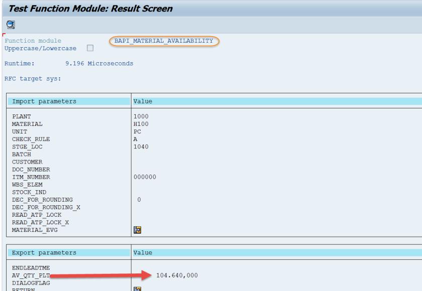 Material Stock Check: Using FM- BAPI_MATERIAL_AVAILABILITY