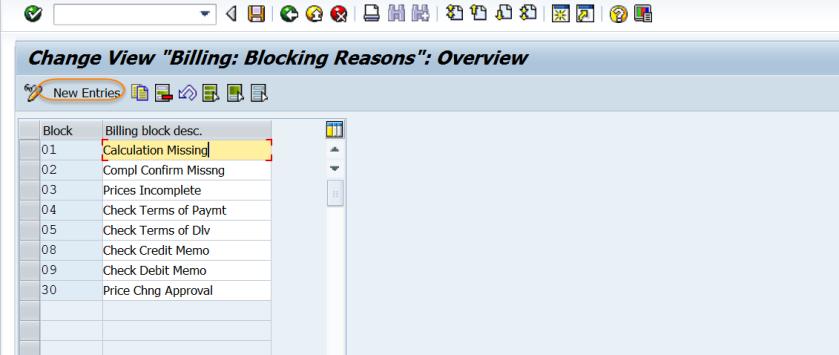 Block Reason for Billing – SAPCODES