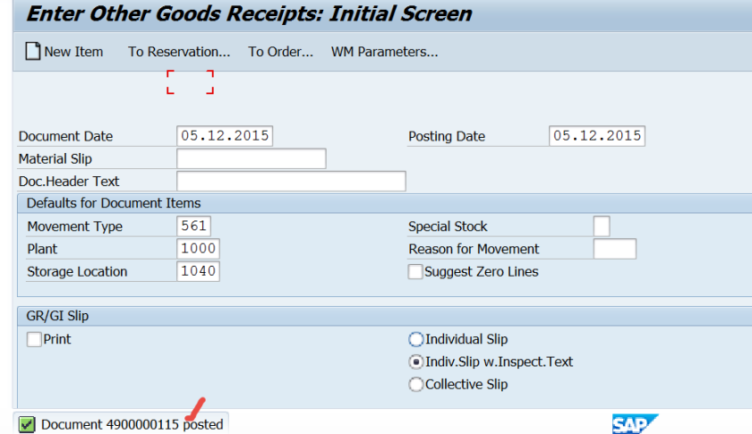 Goods Receipt – SAPCODES