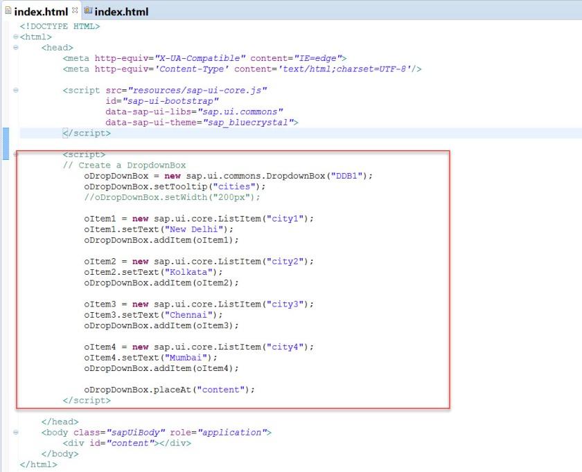 UI5- Dropdown Box – SAPCODES