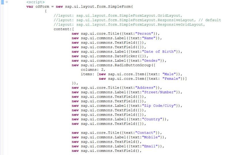 UI5- Simple Form – SAPCODES