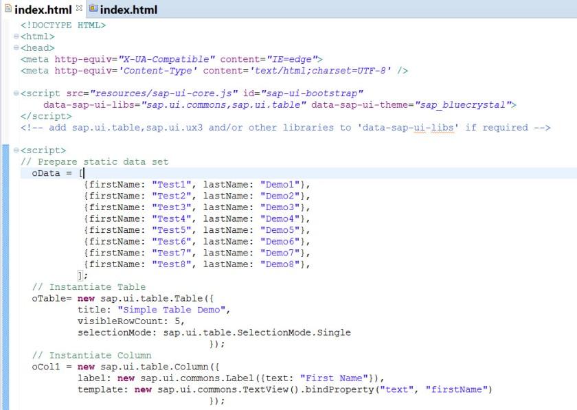 UI5-Table – SAPCODES