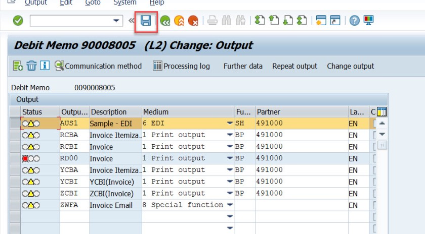 EDI Print Output Set for Billing Document – SAPCODES